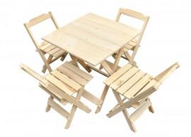 Jogo De Mesa 70x70 com 4 Cadeiras Madeira Dobrável Restaurante